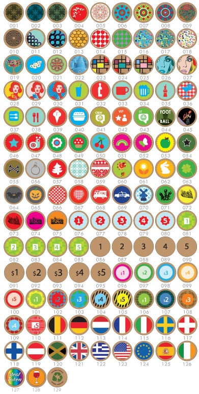 Standard designs for printed Wooden Tokens
